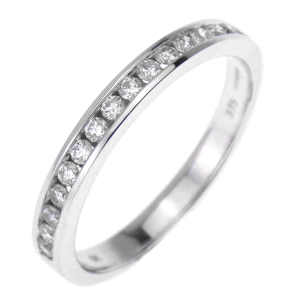 9ct White Gold 0.26ct Diamond Channel Set Half Eternity Band Ring