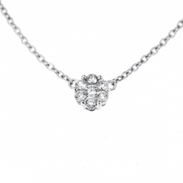 18ct White Gold 0.09ct Diamond Circle Cluster Necklace