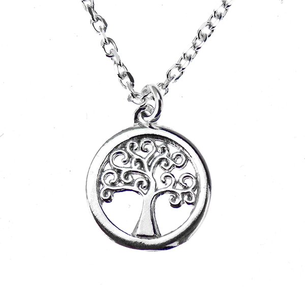 Silver Tree of Life 16 Inch Necklace with 2 Inch Extender Chain