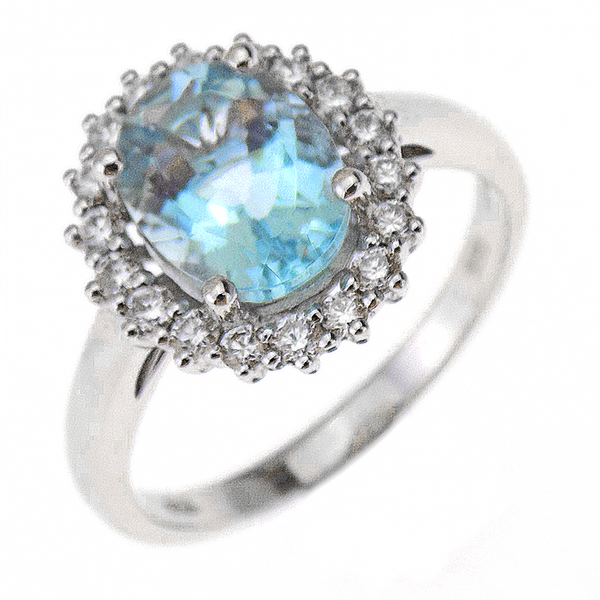 18ct White Gold 1.88ct Aquamarine & 0.35ct Diamond Halo Style Cluster Ring