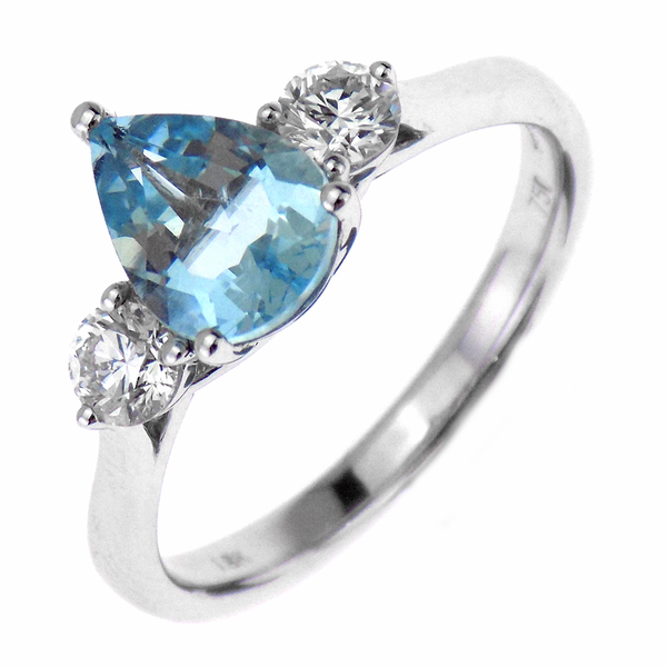 18ct White Gold 0.95ct Aquamarine & 0.34ct Diamond Three Stone Ring