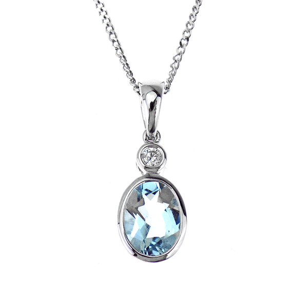 18ct White Gold 1.06ct Aquamarine & 0.04ct Diamond Pendant & 9ct Gold Chain