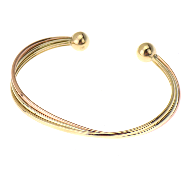 9ct Three Colour Gold Torque Bangle