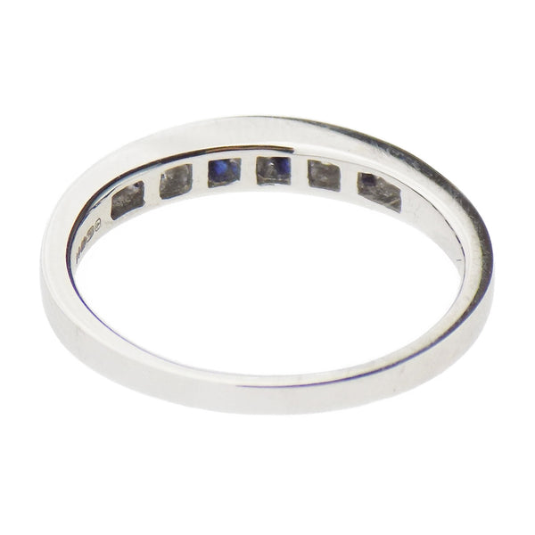 18ct White Gold Sapphire & Diamond Eternity Ring - Setting Detail