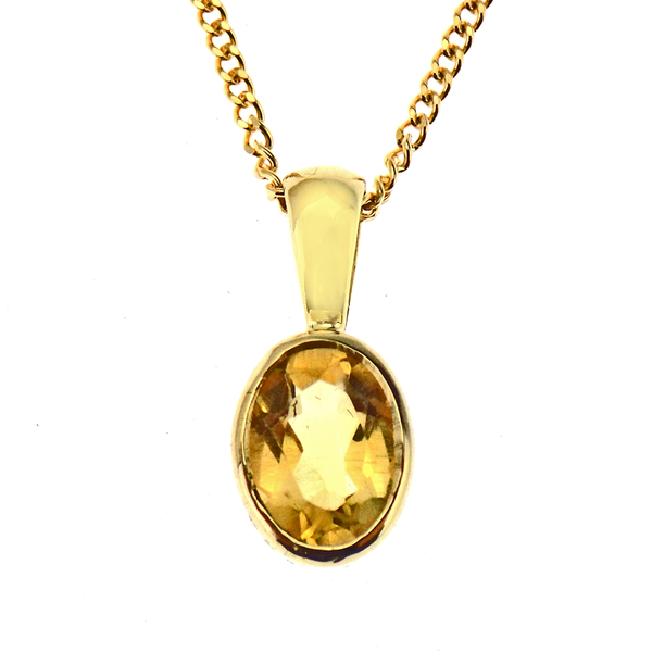 9ct Yellow Gold Oval Cut Citrine Pendant & Chain