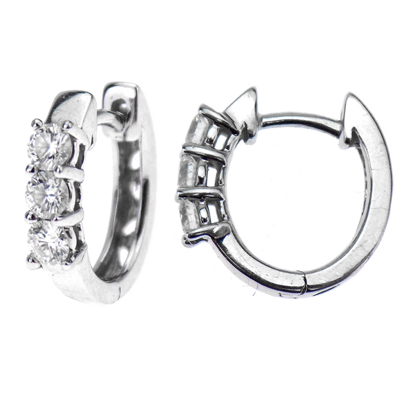 Pre-Loved 18ct White Gold 0.34ct Diamond 'Huggie' Hoop Earrings