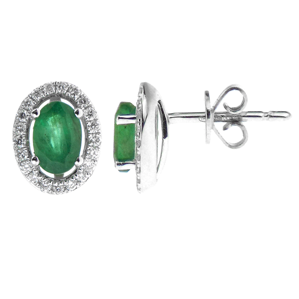 9ct White Gold Emerald & Diamond Halo Stud Earrings