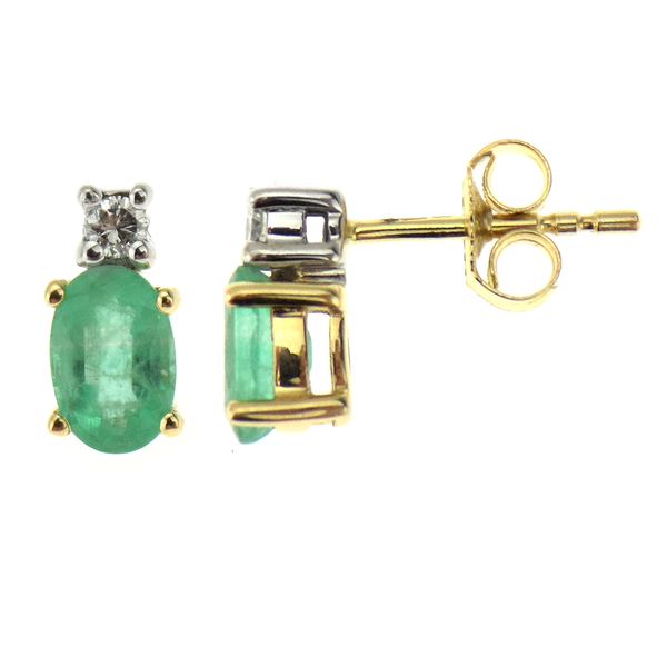9ct Yellow Gold Diamond & Emerald Stud Earrings