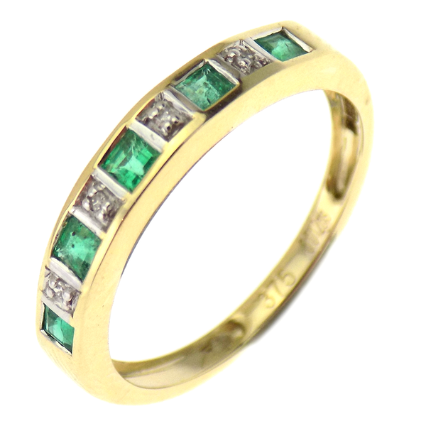 9ct Yellow Gold Emerald & Diamond Half Eternity Band Ring.