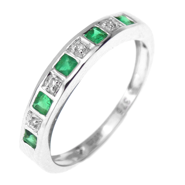 9ct White Gold Emerald & Diamond Half Eternity Band Ring