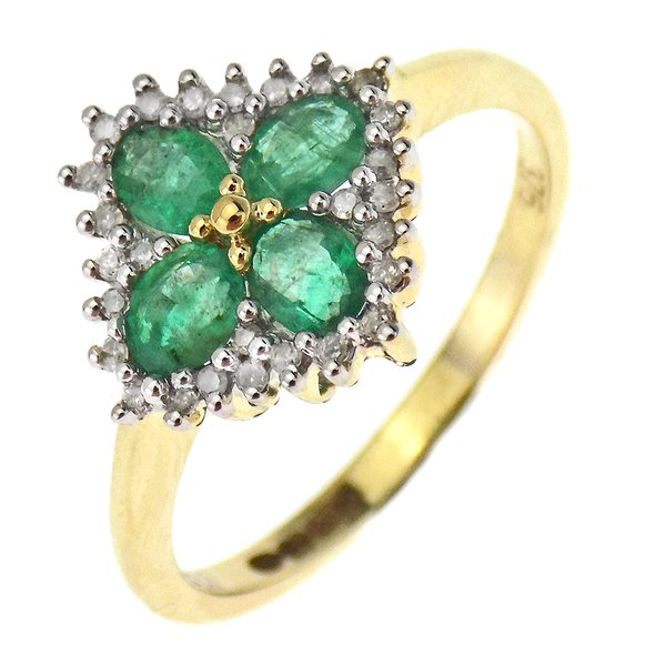 9ct Yellow Gold Emerald & Diamond Flower Shape Cluster Ring