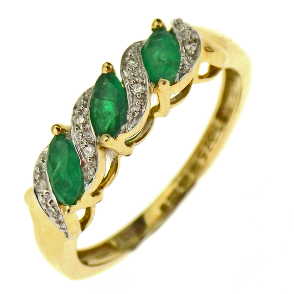 9ct Yellow Gold Emerald & HSI Diamond Fancy Half Eternity Ring