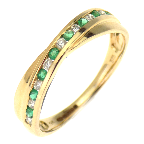 9ct Yellow Gold Diamond & Emerald Crossover Half Eternity Band Ring