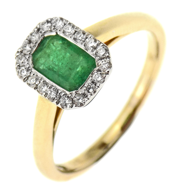 9ct Yellow Gold  Emerald & Diamond Emerald Cut Cluster Ring
