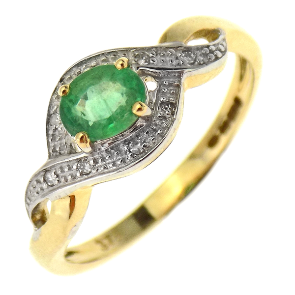 9ct Yellow Gold Emerald & Diamond Twist Dress Ring.
