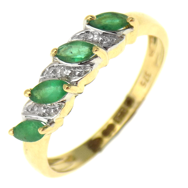 9ct Yellow Gold Emerald & Diamond Fancy Half Eternity Ring