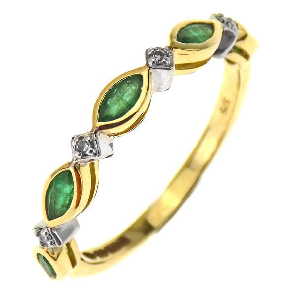 9ct Yellow Gold Emerald & Diamond Fancy Design Ring.