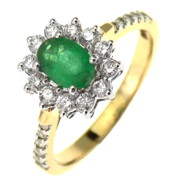 9ct Yellow Gold Emerald & Diamond Set Shoulder Cluster Ring.