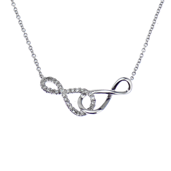 Pre-Loved 9ct White Gold Diamond Infinity Necklace