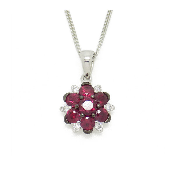 18ct White Gold Ruby and Diamond Flower Cluster Pendant