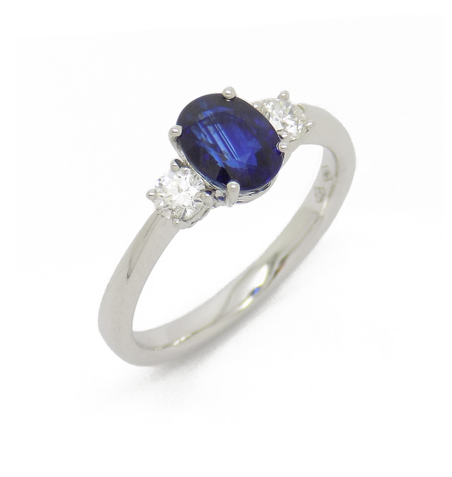 18ct White Gold Three Stone Sapphire and Diamond Ring