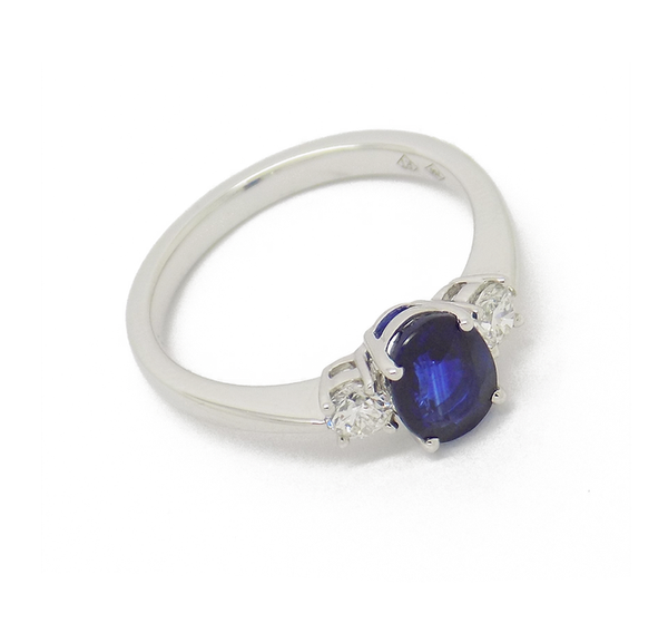 18ct White Gold Three Stone Sapphire and Diamond Ring side on