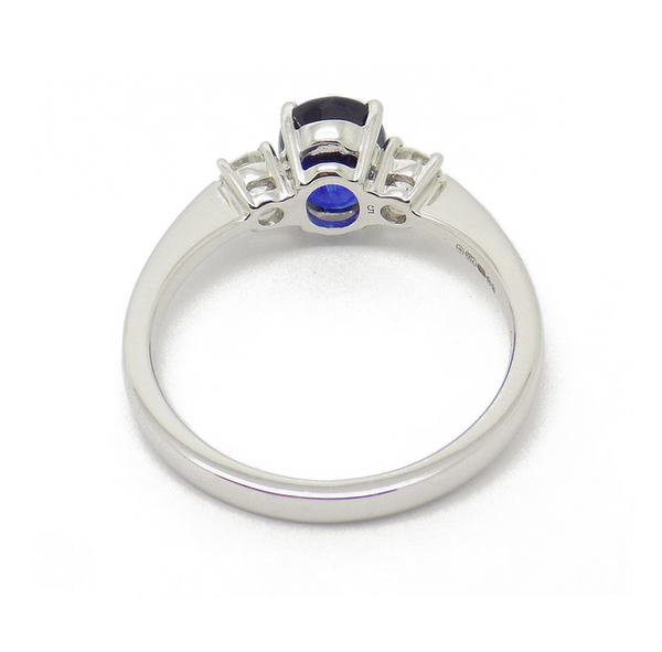 18ct White Gold Three Stone Sapphire and Diamond Ring back