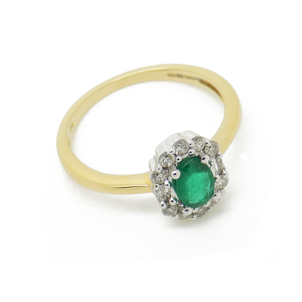 18ct Yellow Gold Emerald and Diamond Cluster Ring Front Detail