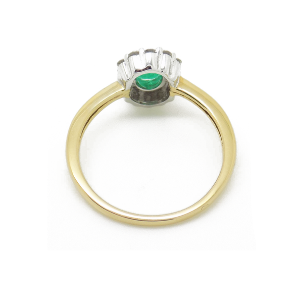 18ct Yellow Gold Emerald and Diamond Cluster Ring back