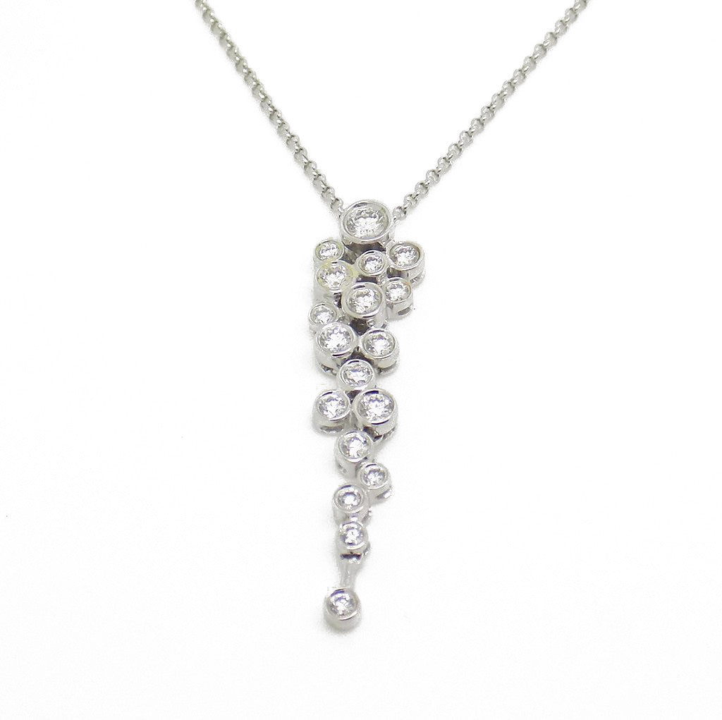 "18ct White Gold Diamond Drop Pendant & 16"" Rolo Chain"