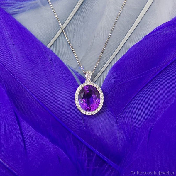 9ct White Gold Oval Amethyst & Diamond Cluster Pendant with Chain Feather Display