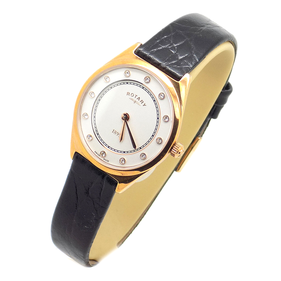 Ladies Rose Gold Plated Watch with Black Leather Strap
