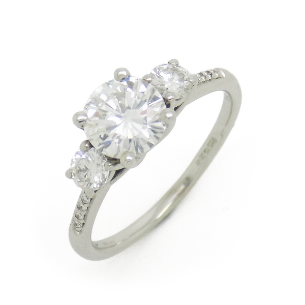 18ct White Gold Three Stone Diamond Ring with Diamond Set Shoulders