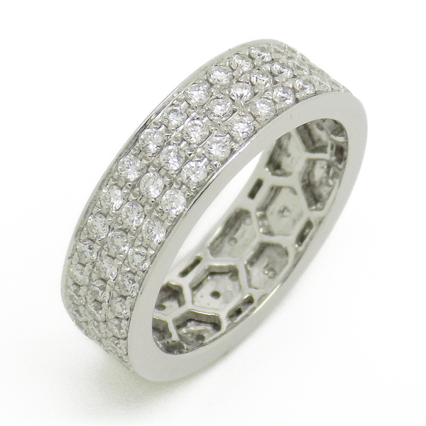 18ct White Gold Three Row Diamond Full Eternity Ring