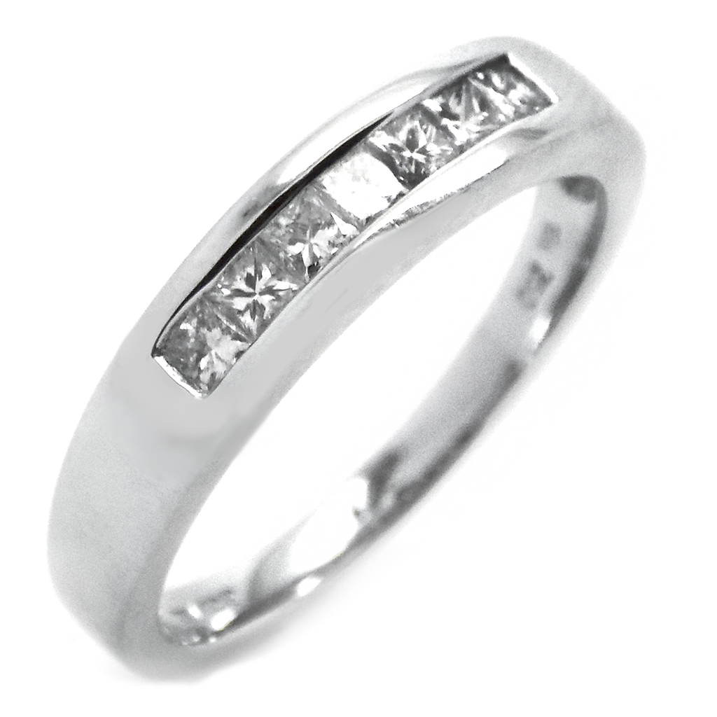 18ct White Gold Seven Princess-Cut Diamond Eternity Ring