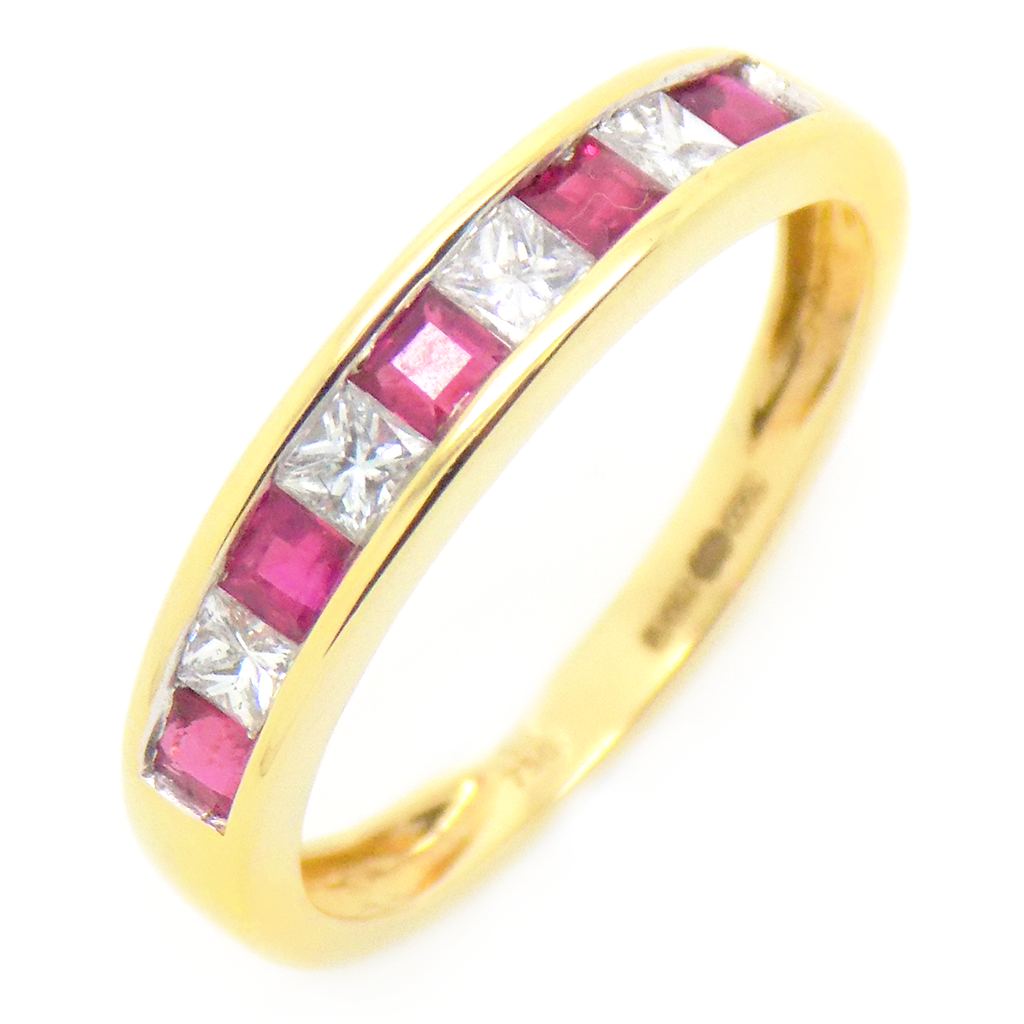 18ct Yellow Gold Square Ruby & Princess Cut Diamond Eternity Ring