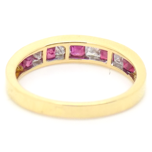 18ct Yellow Gold Square Ruby & Princess Cut Diamond Eternity Ring Back