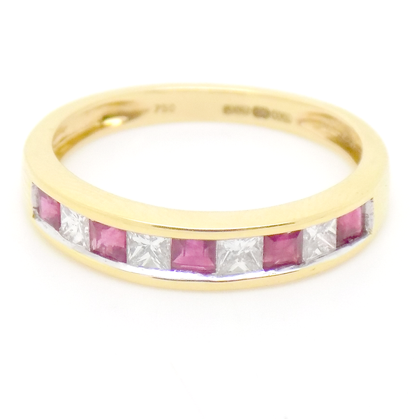 18ct Yellow Gold Square Ruby & Princess Cut Diamond Eternity Ring Front