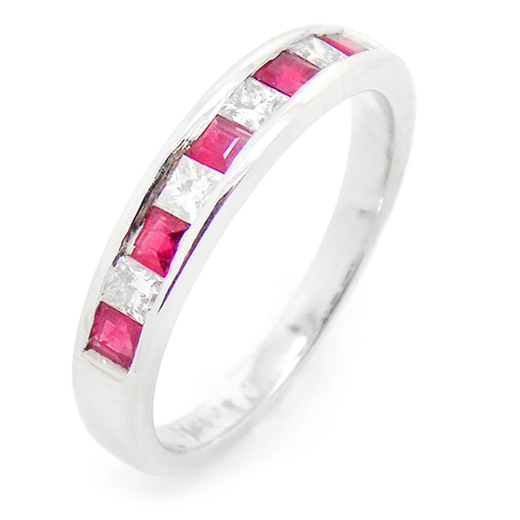 18ct White Gold Square Ruby & Princess Cut Diamond Eternity Ring