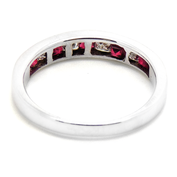18ct White Gold Square Ruby & Princess Cut Diamond Eternity Ring Back