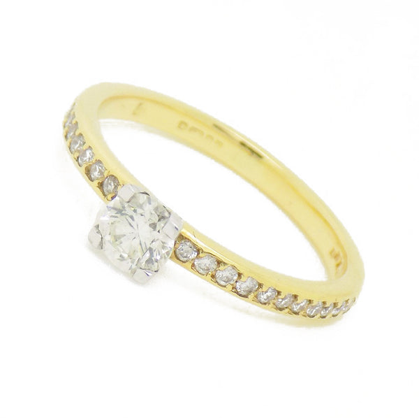 18ct Yellow Gold Single Round Claw-Set Diamond With Diamond Set Shoulders Ring - Front View