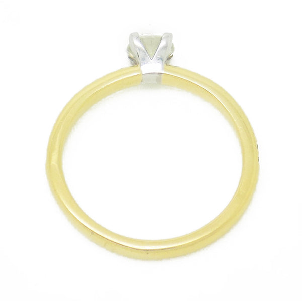 18ct Yellow Gold Single Round Claw-Set Diamond With Diamond Set Shoulders Ring - Setting Detail
