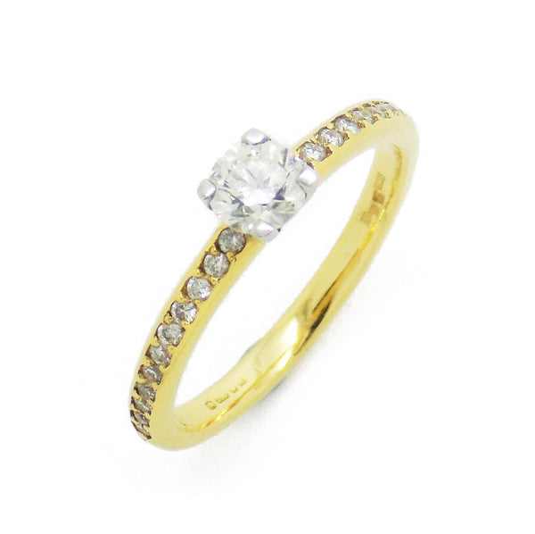 18ct Yellow Gold Single Round Claw-Set Diamond With Diamond Set Shoulders Ring