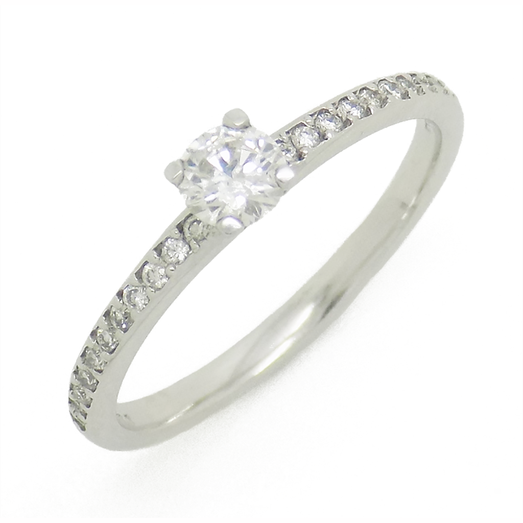18ct White Gold Single Diamond Ring with Diamond Set Shoulders
