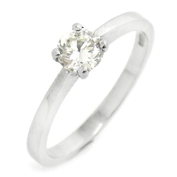 18ct White Gold Single Round Diamond Ring