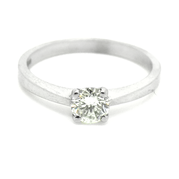 18ct White Gold Single Round Diamond Ring Front Detail