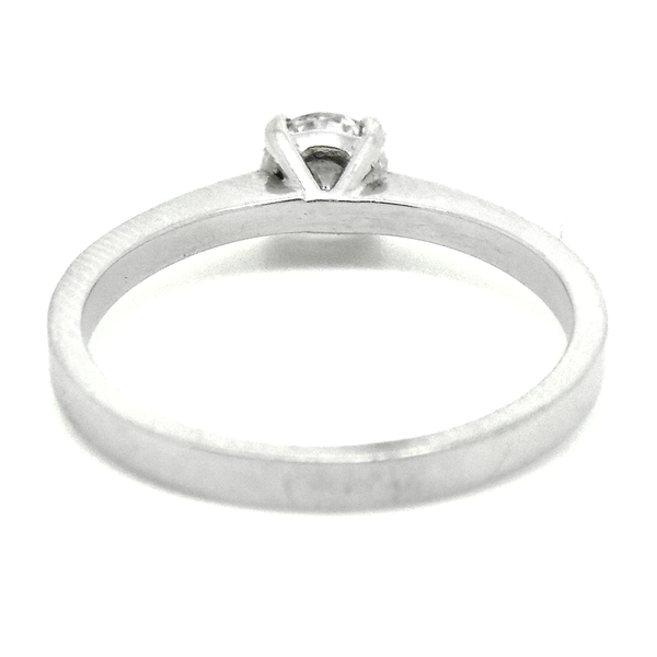 18ct White Gold Single Round Diamond Ring Reverse