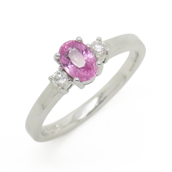18ct White Gold Oval Pink Sapphire & Diamond Ring