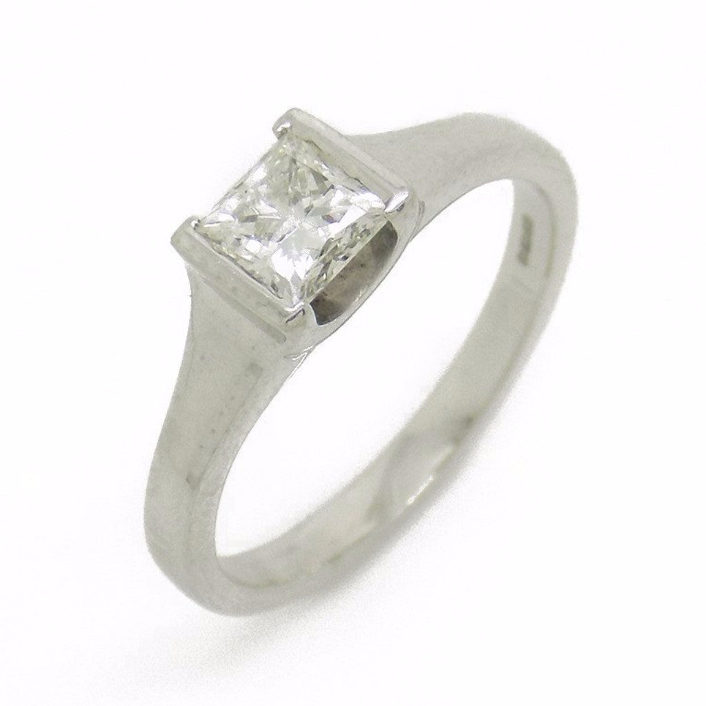 18ct White Gold Single Princess-Cut Rub-over Set Diamond Ring