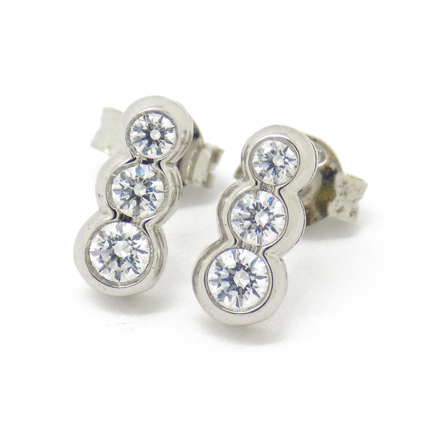 'Perfection' Sterling Silver & Swarovski Zirconia Graduating Trilogy Stud Earrings